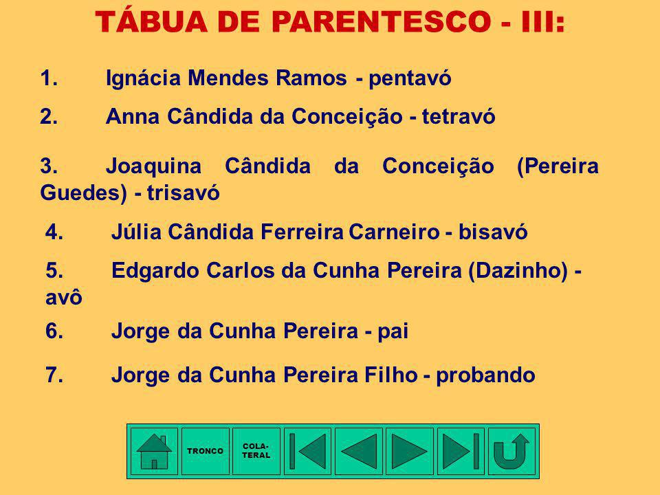 TÁBUA DE PARENTESCO - III: