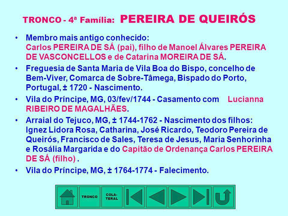 TRONCO - 4ª Família: PEREIRA DE QUEIRÓS