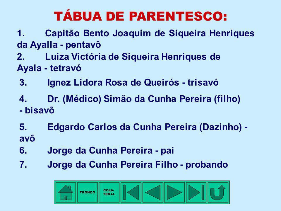 TÁBUA DE PARENTESCO: 1. Capitão Bento Joaquim de Siqueira Henriques da Ayalla - pentavô. 2. Luiza Victória de Siqueira Henriques de Ayala - tetravó.