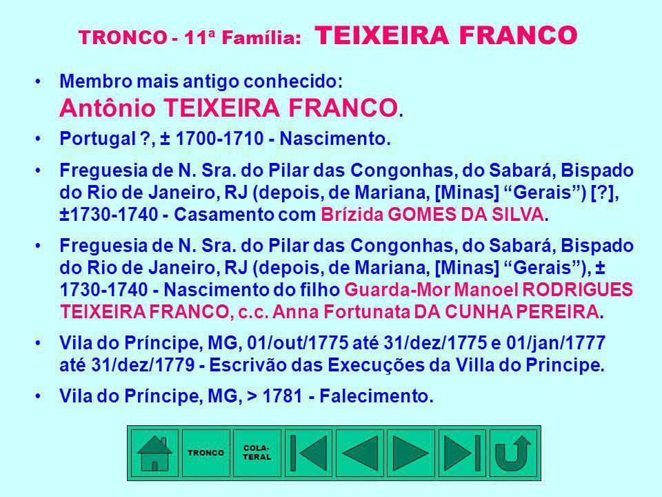 TRONCO - 11ª Família: TEIXEIRA FRANCO