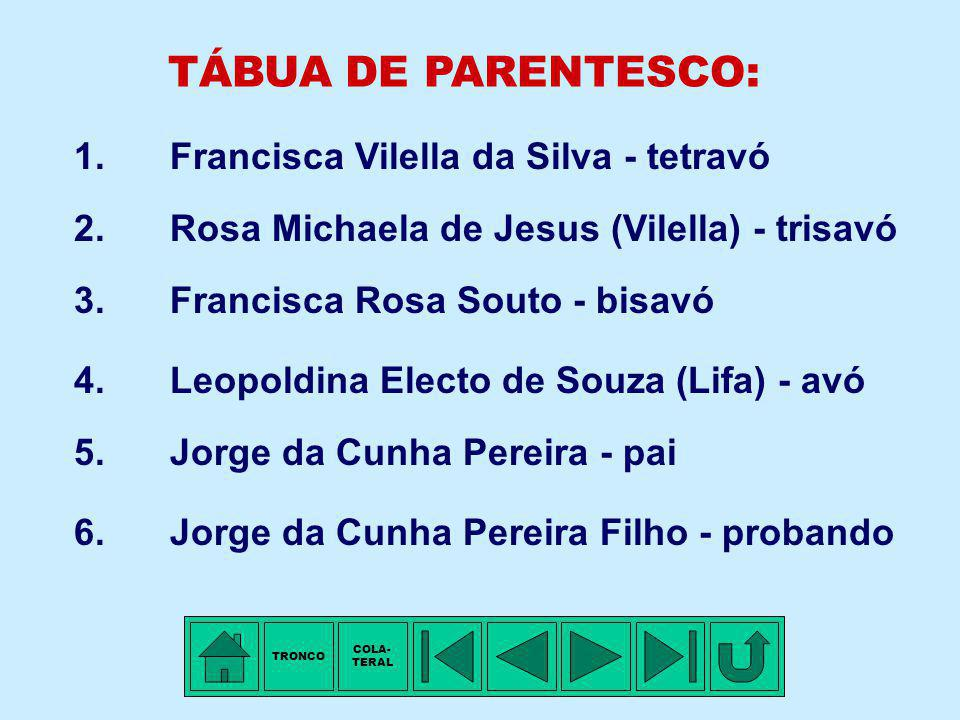 TÁBUA DE PARENTESCO: 1. Francisca Vilella da Silva - tetravó