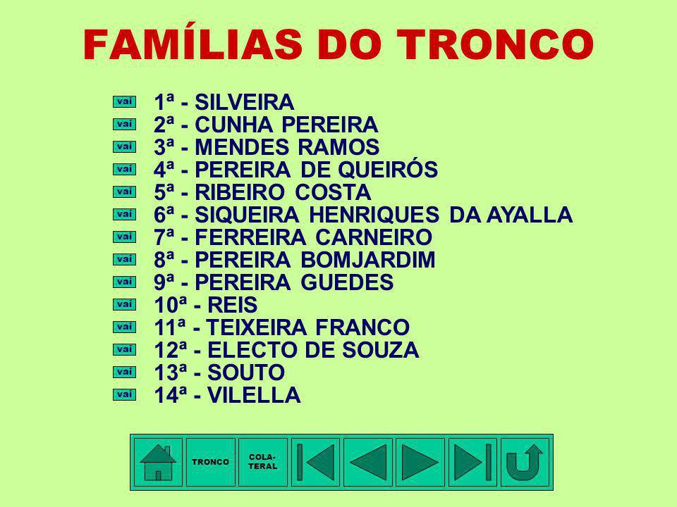 FAMÍLIAS DO TRONCO 1ª - SILVEIRA 2ª - CUNHA PEREIRA 3ª - MENDES RAMOS