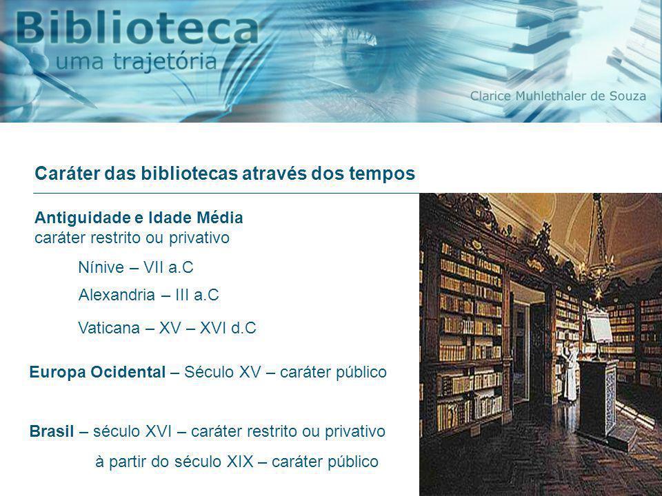 Caráter das bibliotecas através dos tempos