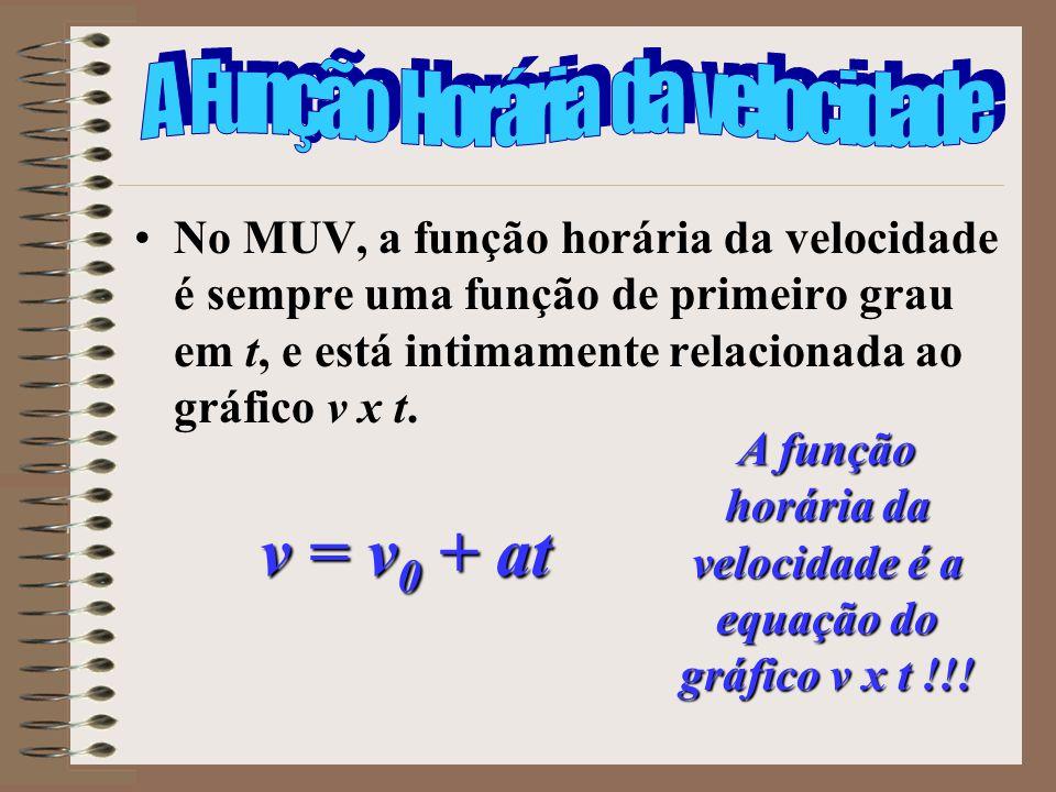 A função horária da velocidade é a equação do gráfico v x t !!!