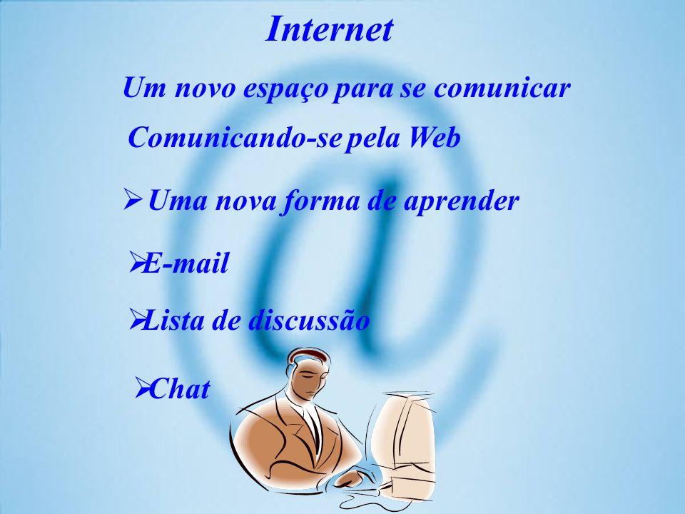 Internet Um novo espaço para se comunicar. Comunicando-se pela Web. Uma nova forma de aprender. E-mail.