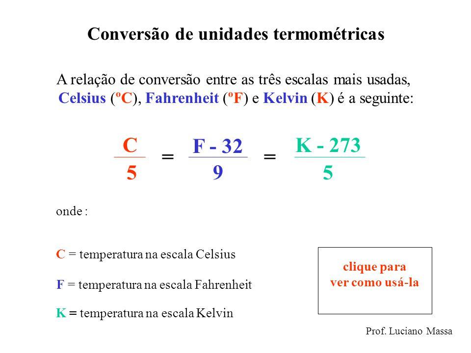 C F - 32 K - 273 = = 5 9 5 Conversão de unidades termométricas