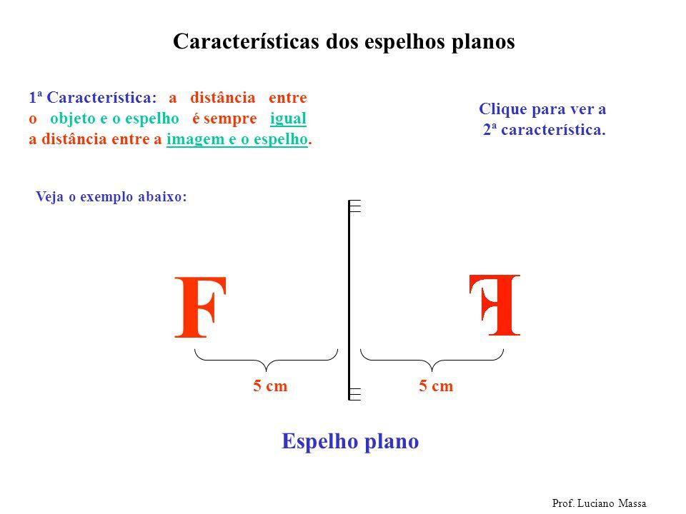 F Características dos espelhos planos Espelho plano