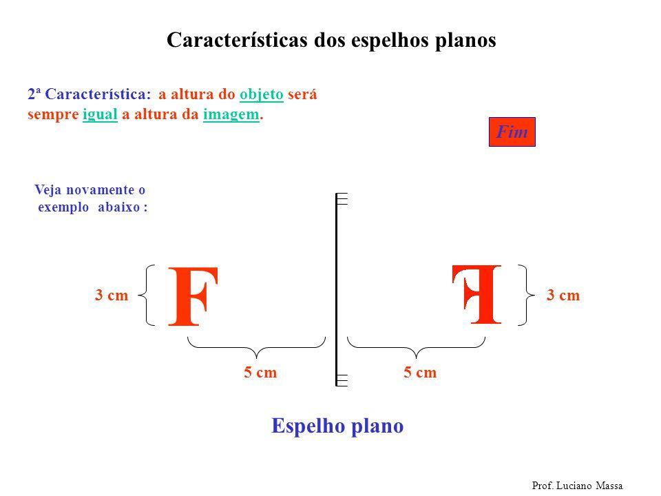 F Características dos espelhos planos Espelho plano Fim