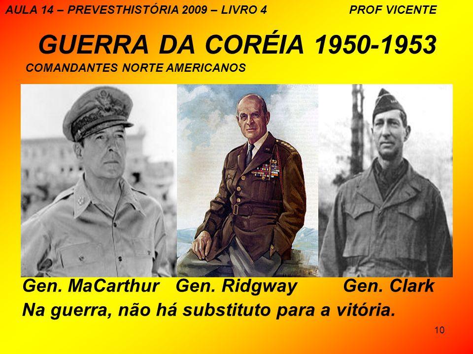 GUERRA DA CORÉIA 1950-1953 Gen. MaCarthur Gen. Ridgway Gen. Clark