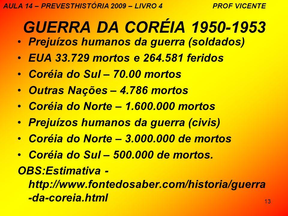 GUERRA DA CORÉIA 1950-1953 Prejuízos humanos da guerra (soldados)