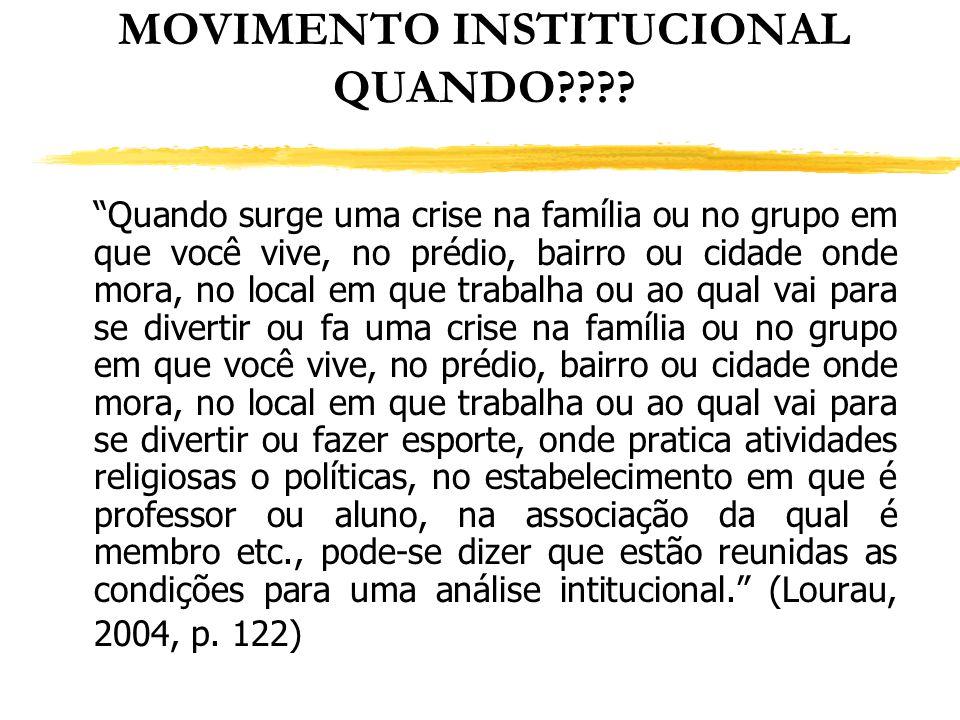 MOVIMENTO INSTITUCIONAL QUANDO