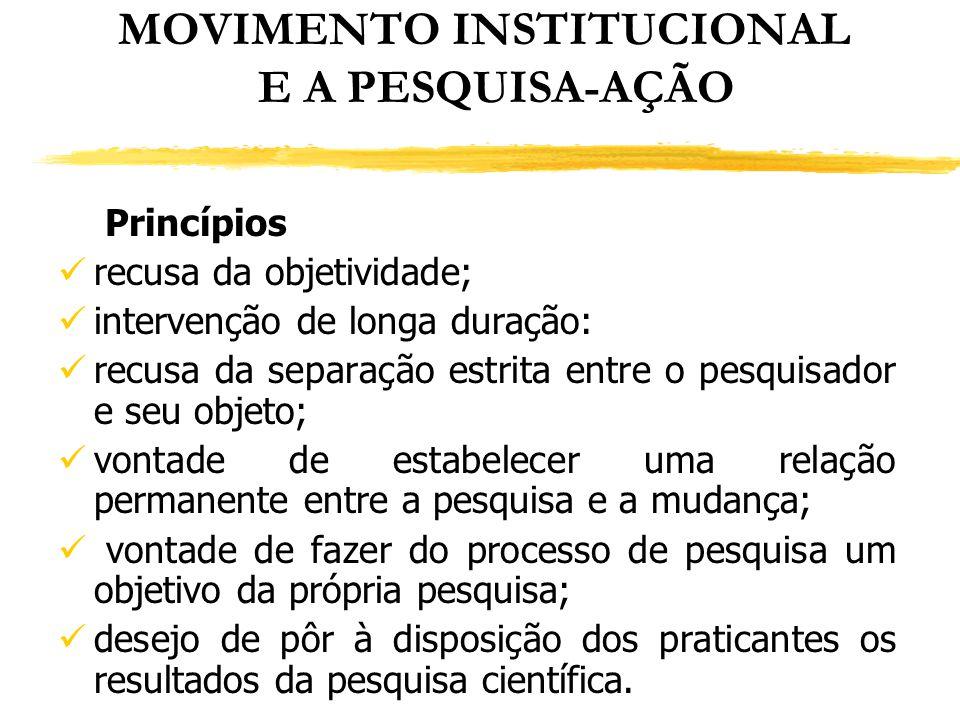 MOVIMENTO INSTITUCIONAL E A PESQUISA-AÇÃO