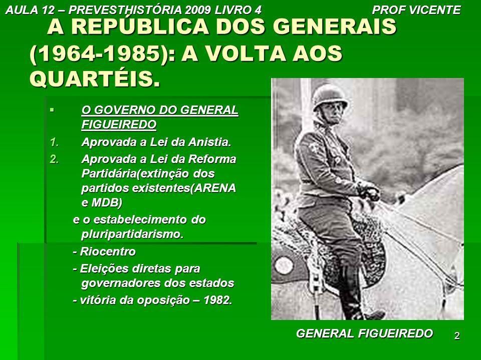 A REPÚBLICA DOS GENERAIS (1964-1985): A VOLTA AOS QUARTÉIS.