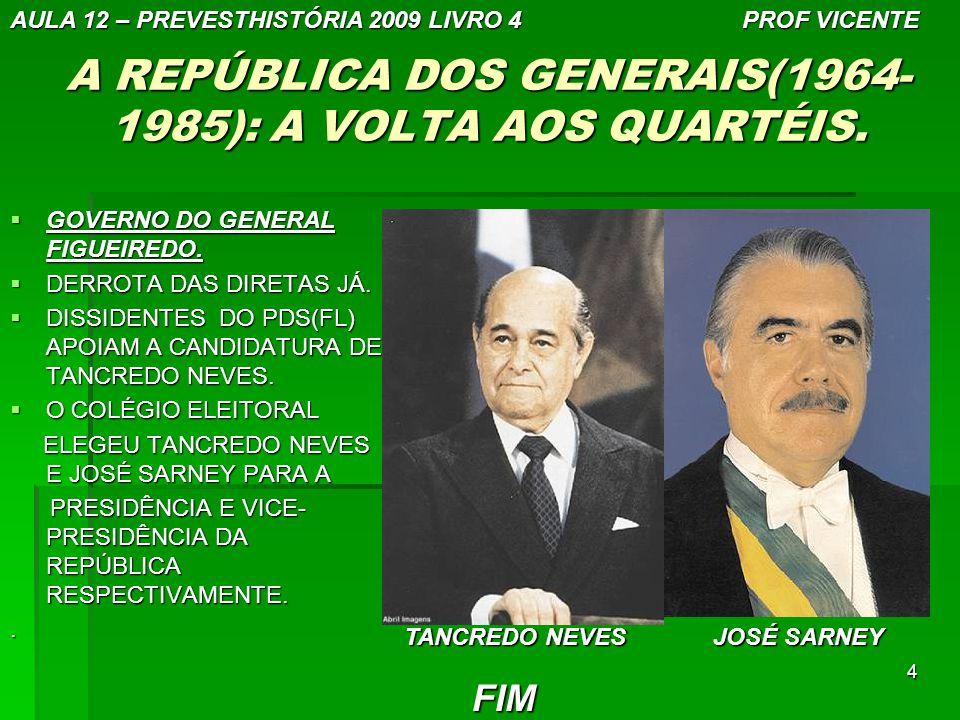 A REPÚBLICA DOS GENERAIS(1964-1985): A VOLTA AOS QUARTÉIS.
