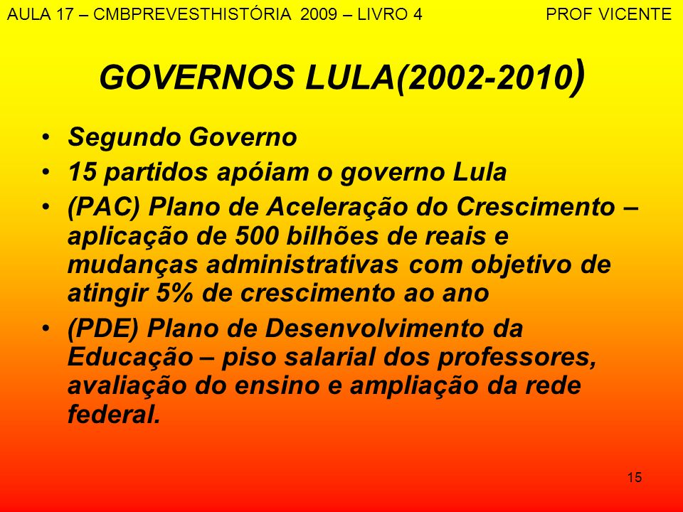 GOVERNOS LULA(2002-2010) Segundo Governo