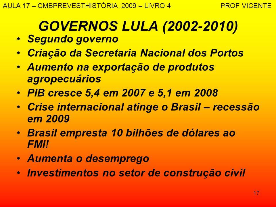 GOVERNOS LULA (2002-2010) Segundo governo