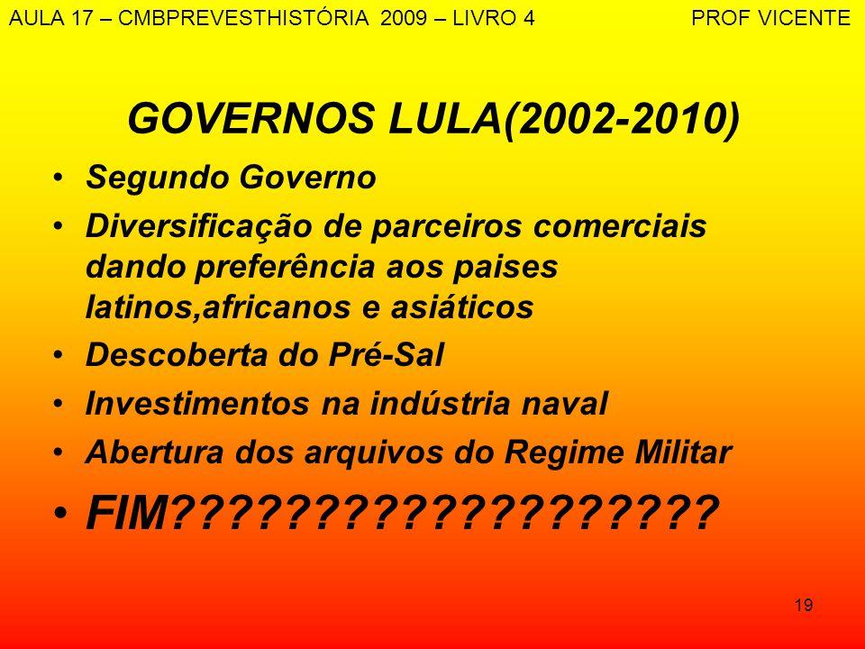 FIM GOVERNOS LULA(2002-2010) Segundo Governo