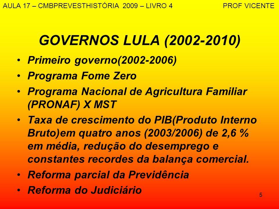 GOVERNOS LULA (2002-2010) Primeiro governo(2002-2006)