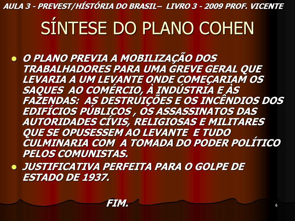 AULA 3 - PREVEST/HÍSTÓRIA DO BRASIL– LIVRO 3 - 2009 PROF. VICENTE