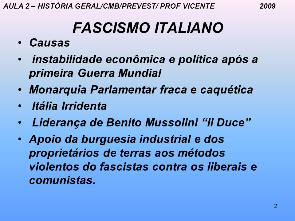 FASCISMO ITALIANO Causas