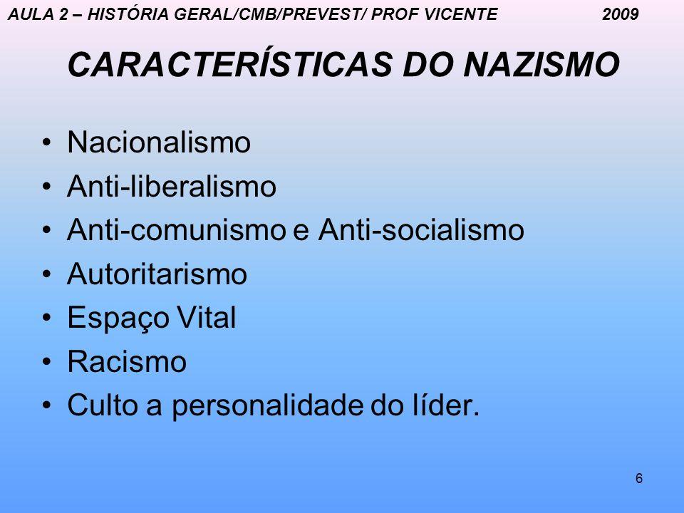 CARACTERÍSTICAS DO NAZISMO