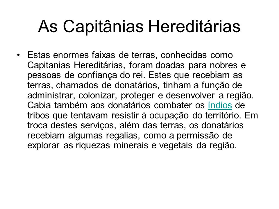 As Capitânias Hereditárias