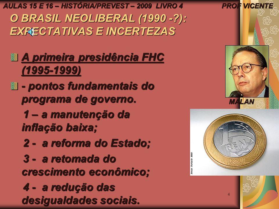 O BRASIL NEOLIBERAL (1990 - ): EXPECTATIVAS E INCERTEZAS
