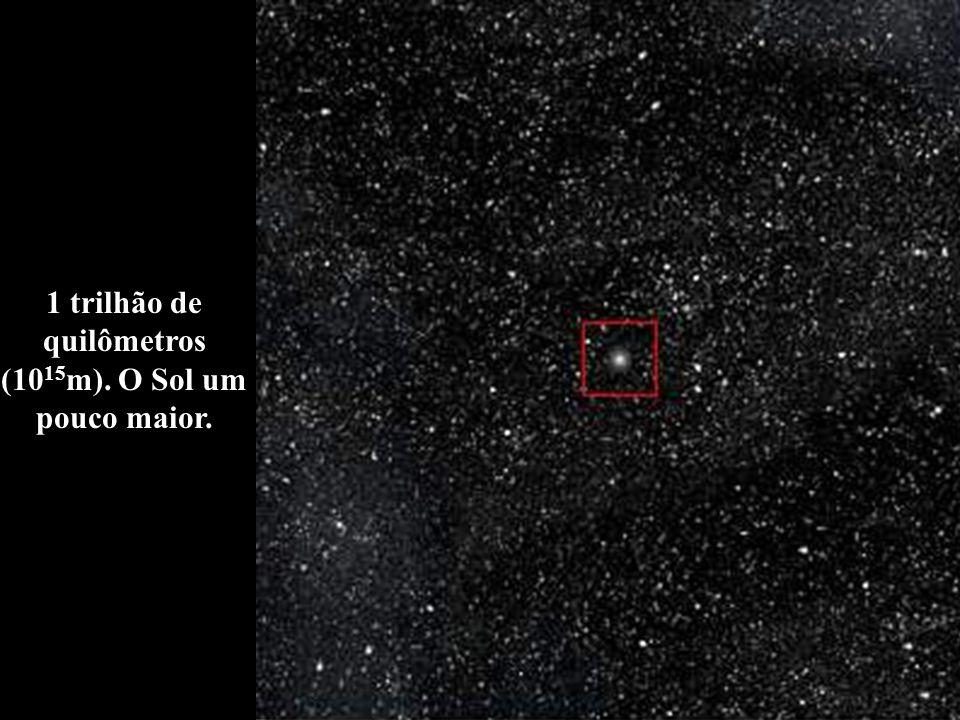 1 trilhão de quilômetros (1015m). O Sol um pouco maior.