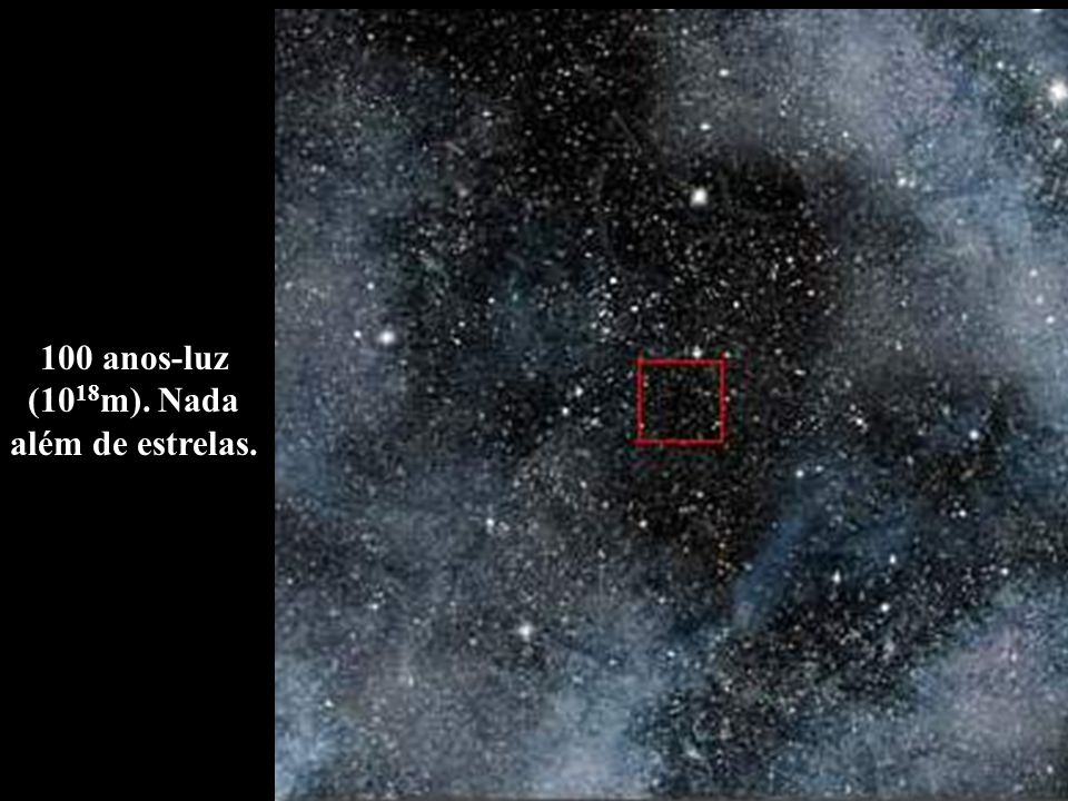 100 anos-luz (1018m). Nada além de estrelas.