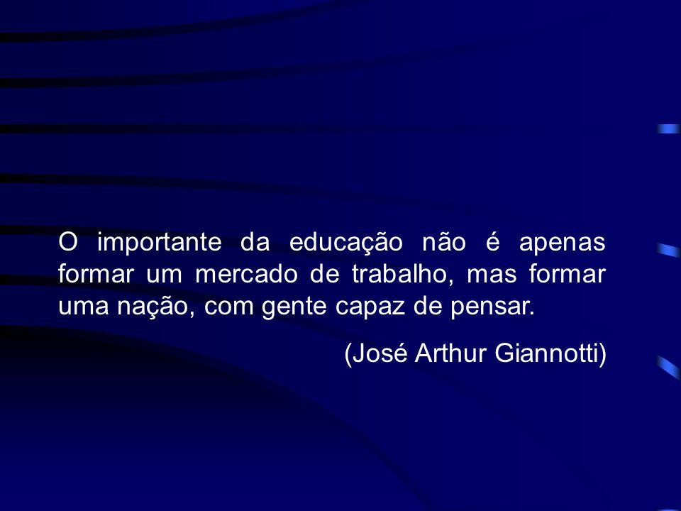 O importante da educação não é apenas formar um mercado de trabalho, mas formar uma nação, com gente capaz de pensar.