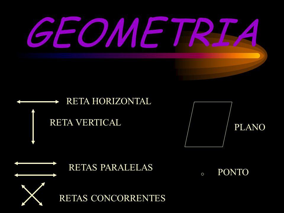 GEOMETRIA RETA HORIZONTAL RETA VERTICAL PLANO RETAS PARALELAS PONTO