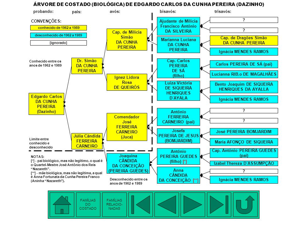 ÁRVORE DE COSTADO (BIOLÓGICA) DE EDGARDO CARLOS DA CUNHA PEREIRA (DAZINHO)