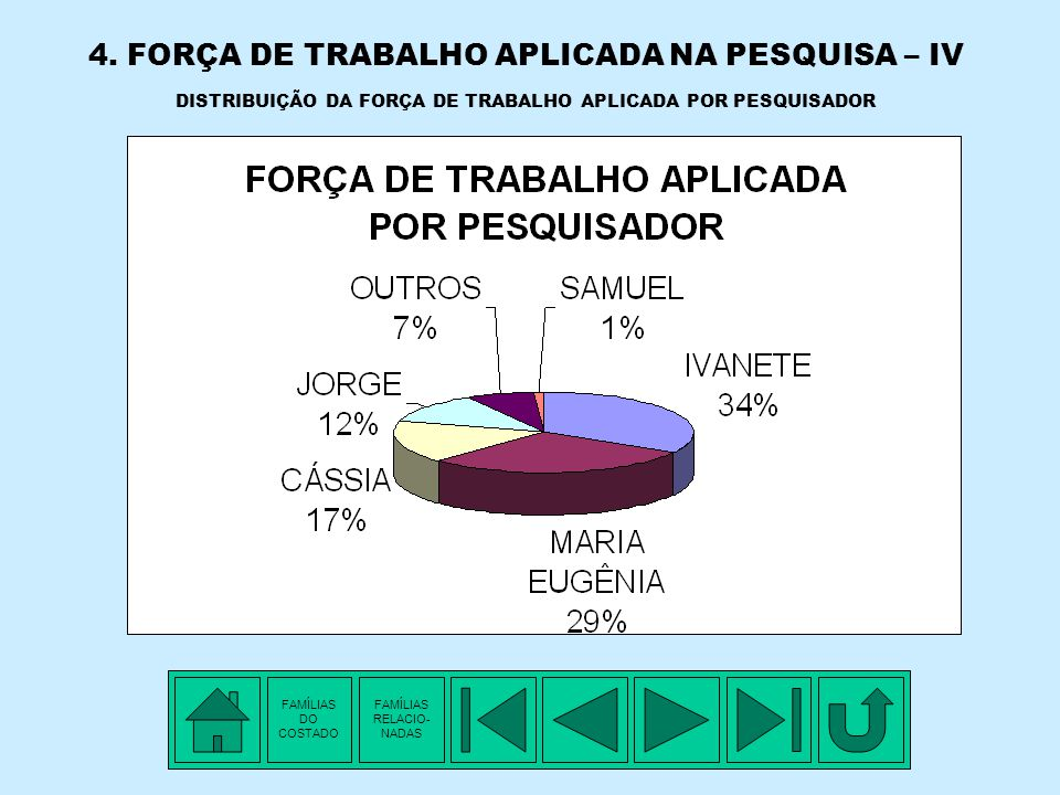 4. FORÇA DE TRABALHO APLICADA NA PESQUISA – IV DISTRIBUIÇÃO DA FORÇA DE TRABALHO APLICADA POR PESQUISADOR