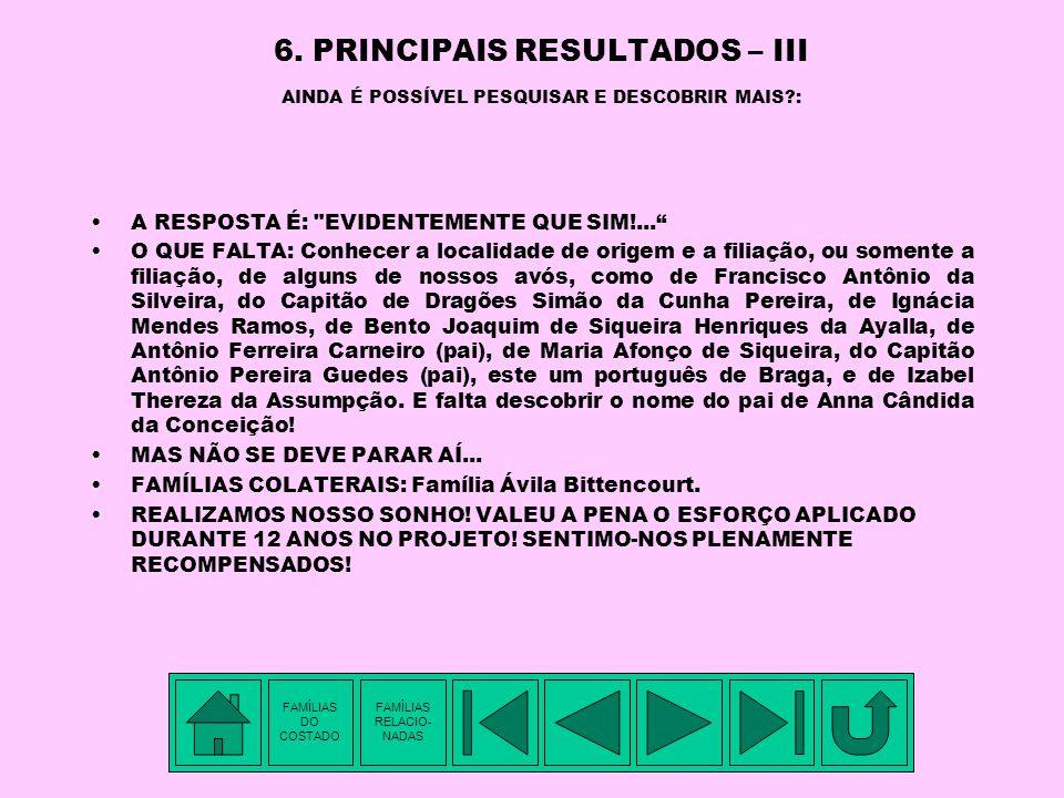 6. PRINCIPAIS RESULTADOS – III AINDA É POSSÍVEL PESQUISAR E DESCOBRIR MAIS :