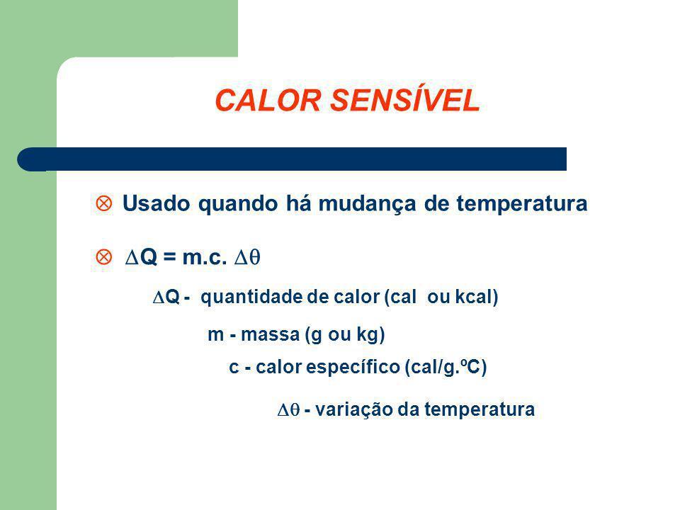 CALOR SENSÍVEL  Usado quando há mudança de temperatura  Q = m.c. 