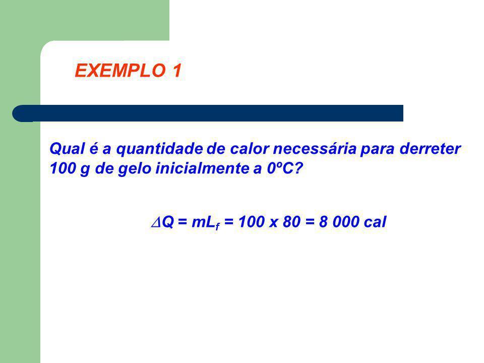 EXEMPLO 1 Qual é a quantidade de calor necessária para derreter