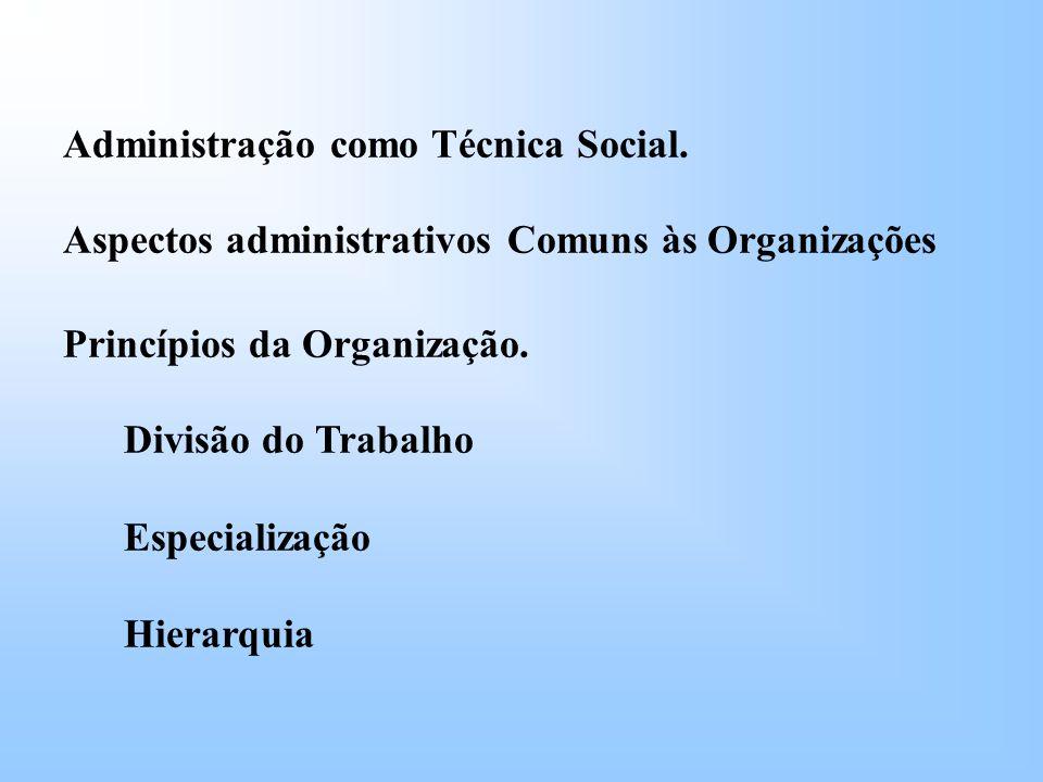 Administração como Técnica Social.