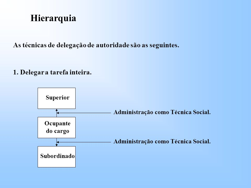 Hierarquia As técnicas de delegação de autoridade são as seguintes.