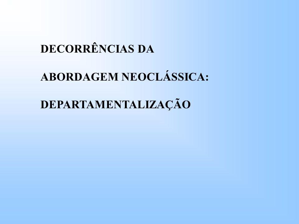 DECORRÊNCIAS DA ABORDAGEM NEOCLÁSSICA: DEPARTAMENTALIZAÇÃO
