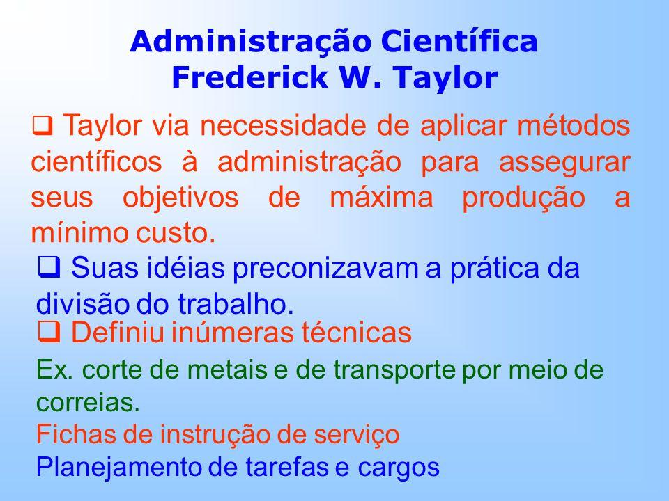Administração Científica Frederick W. Taylor