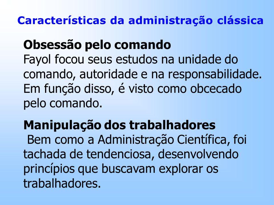 Características da administração clássica