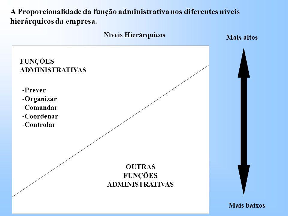 A Proporcionalidade da função administrativa nos diferentes níveis hierárquicos da empresa.