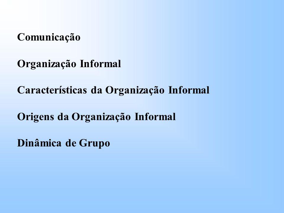 Comunicação Organização Informal. Características da Organização Informal. Origens da Organização Informal.