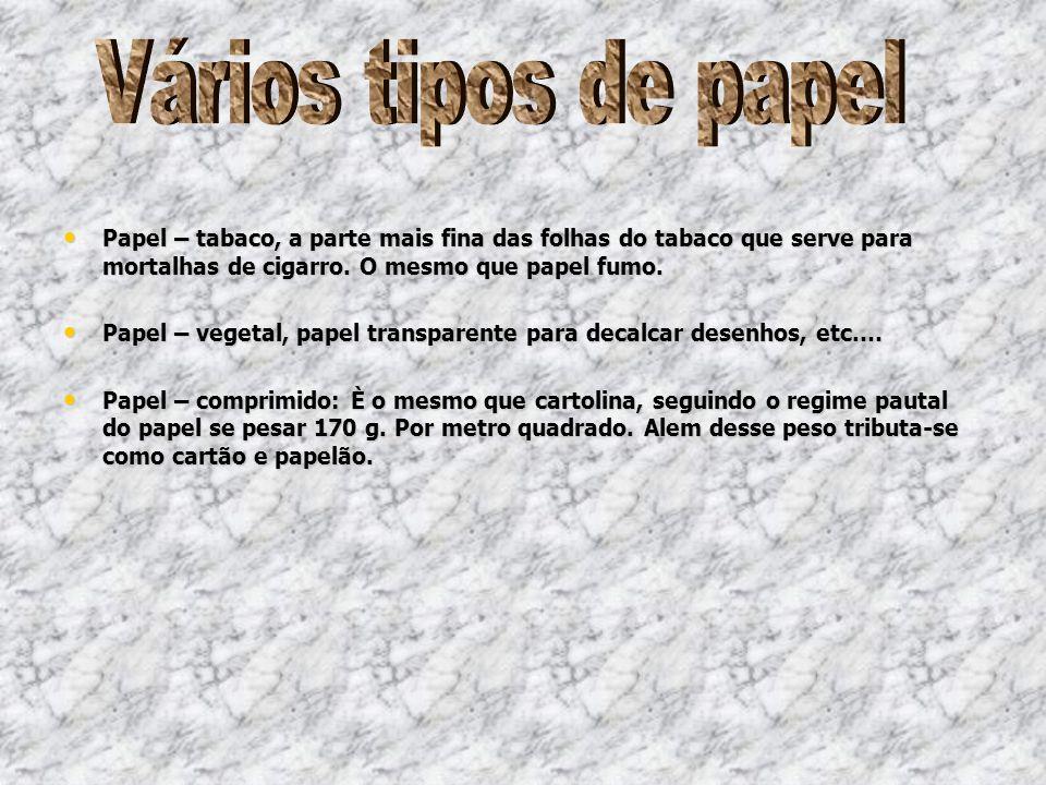 Vários tipos de papel Papel – tabaco, a parte mais fina das folhas do tabaco que serve para mortalhas de cigarro. O mesmo que papel fumo.
