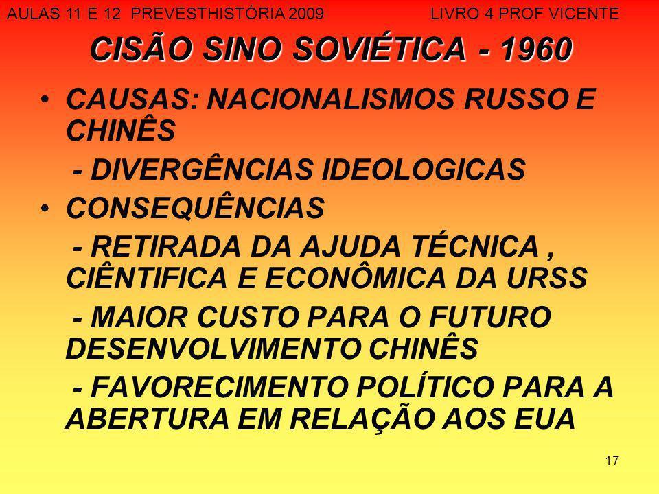 CISÃO SINO SOVIÉTICA - 1960 CAUSAS: NACIONALISMOS RUSSO E CHINÊS