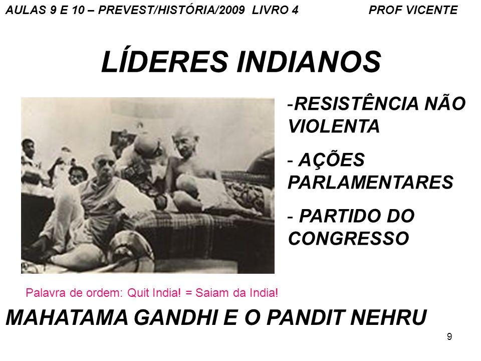 LÍDERES INDIANOS MAHATAMA GANDHI E O PANDIT NEHRU