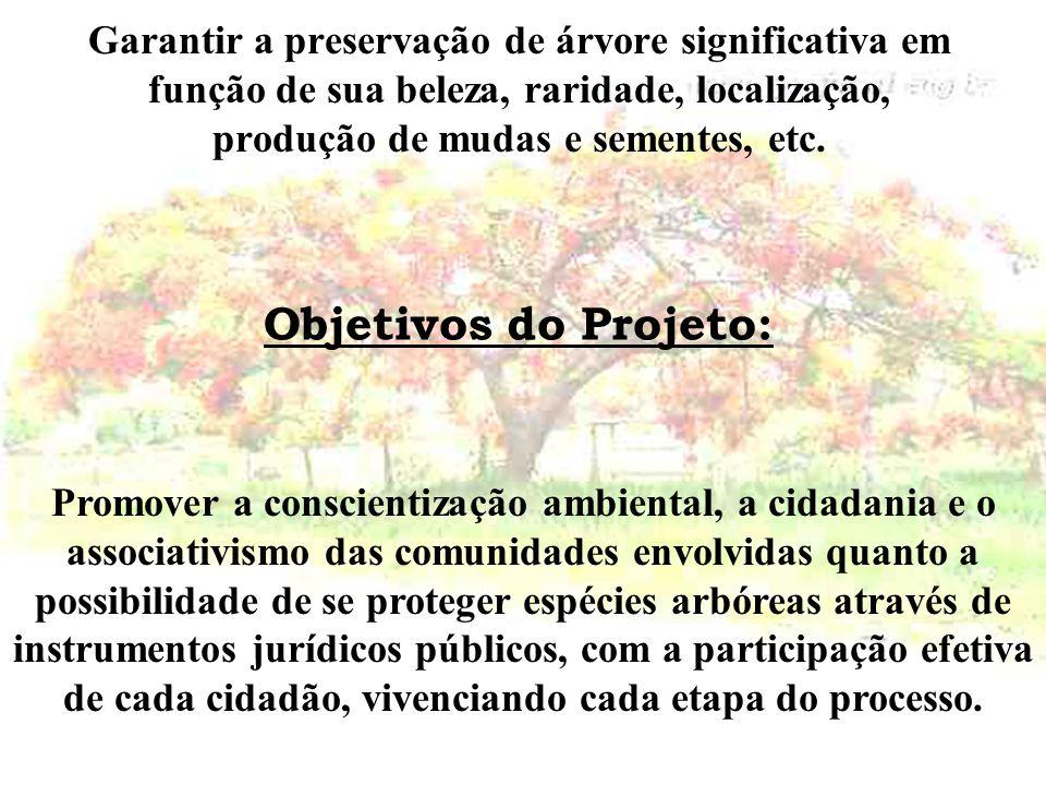 Garantir a preservação de árvore significativa em função de sua beleza, raridade, localização, produção de mudas e sementes, etc.