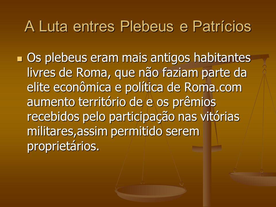 A Luta entres Plebeus e Patrícios