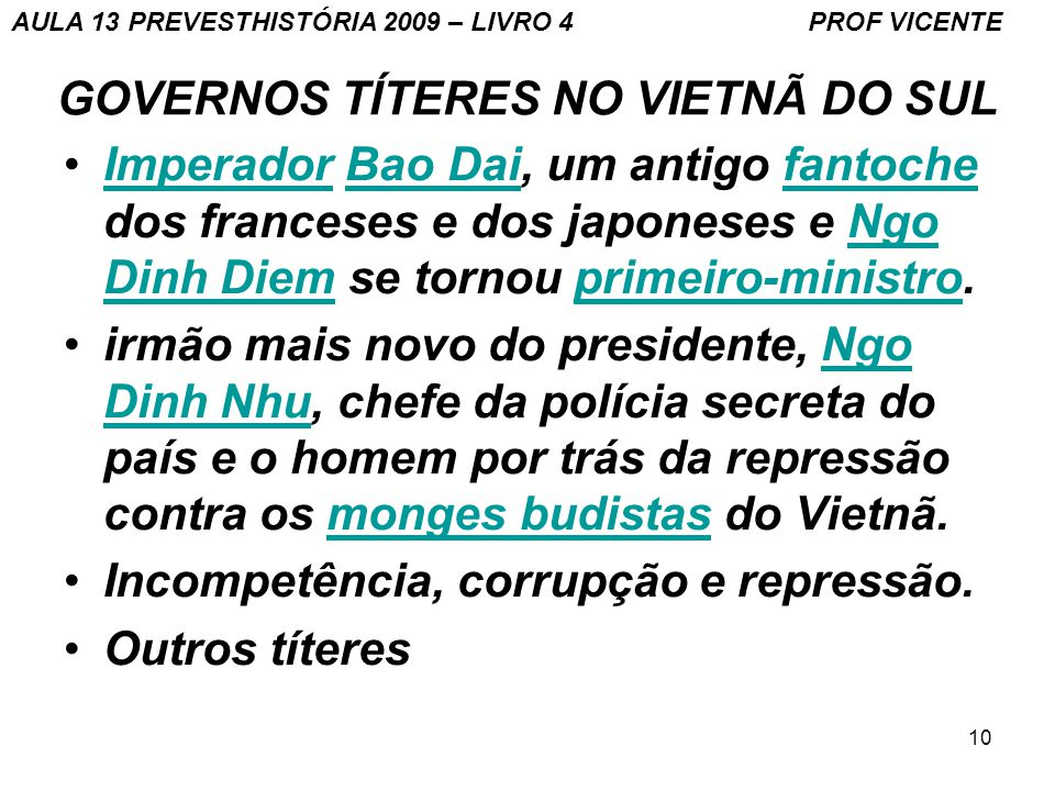 GOVERNOS TÍTERES NO VIETNÃ DO SUL