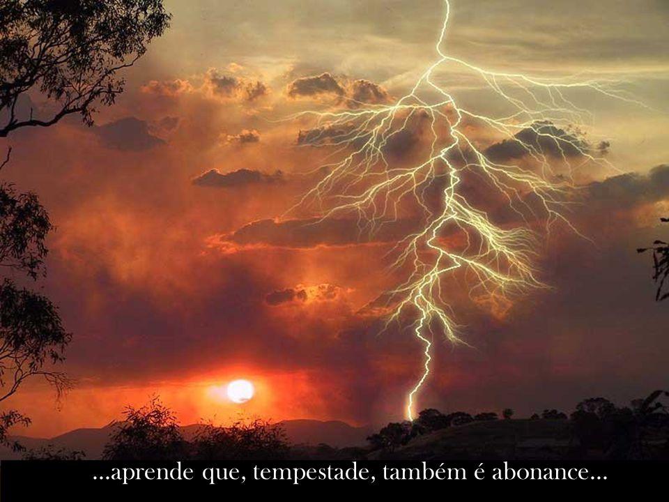 ...aprende que, tempestade, também é abonance...